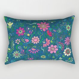 Verde, azul y rosado. (Green, blue and pink) Rectangular Pillow