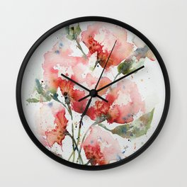 Coral and Pink Floral Watercolor Wall Clock