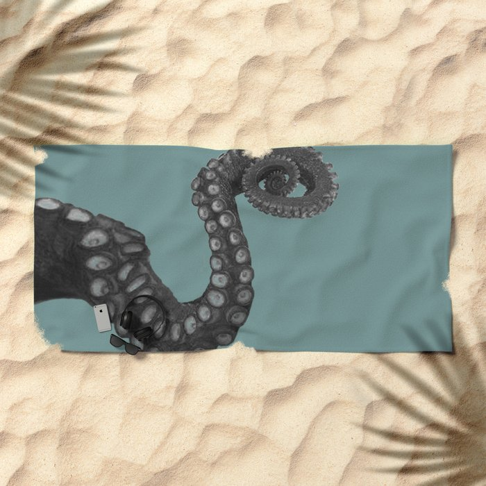 OCTOPUS - tentacle , arm , animal , single , one , spiral Beach Towel
