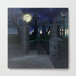 Graveyard #2 * Halloween Churchyard Scary Spooky Skeleton Tombstone Creepy Metal Print
