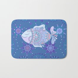 Purple Blue Touchy Fish Bath Mat