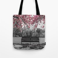 cherry blossom Tote Bags featuring Cherry Blossom by Claire Doherty