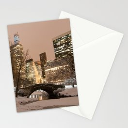 NYC - Gapstow Bridge, Central Park, Snow Stationery Cards