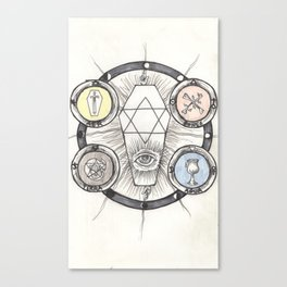 The Tarot Suits Alchemical Drawing Canvas Print
