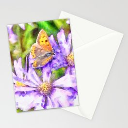 Orange Wings and Purple Petals Stationery Cards