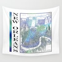 new orleans Wall Tapestries featuring New Orleans by Catherine Holcombe
