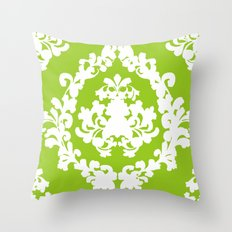 Damask Green and White Victorian Lace Damask Throw Pillow