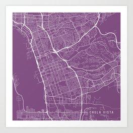 Chula Vista Map, USA - Purple Art Print