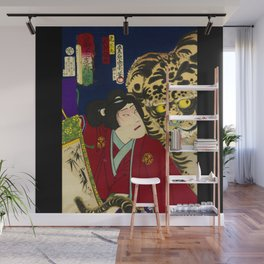 Tiger with warrior in Japan Wall Mural