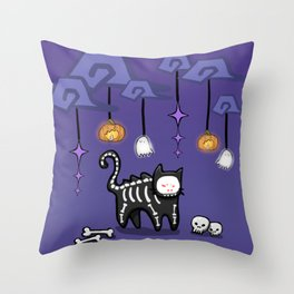 SkeletonCat Throw Pillow