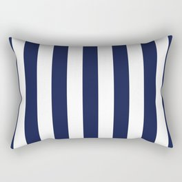 Maritime pattern- darkblue stripes on clear white - vertical Rectangular Pillow