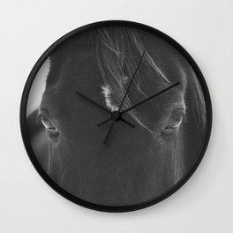Close Up Black Horse Photograph Wall Clock