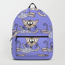 Flying cats in blue Backpack