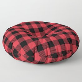 Buffalo Plaid Bright Red and Black Pattern Minimal Graphic Design Floor Pillow