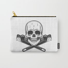 Skull builder from new construction with crossed wrenches plumbing and gas pipes print Carry-All Pouch