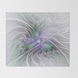 Abstract Floral Fractal Art Throw Blanket