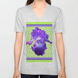 Decorative  Purple Iris Lime Green Optical Pattern Art Unisex V-Neck