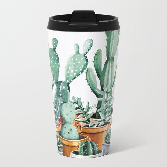 Potted Cacti Metal Travel Mug