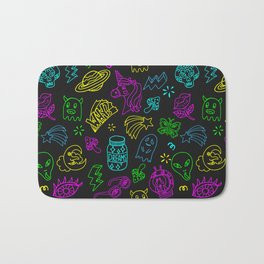 Space theme patch badge outline pattern Bath Mat