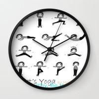 yoga Wall Clocks featuring yoga by Indraart