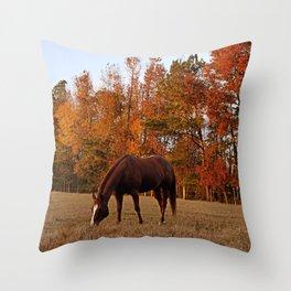 Horse Fall Days of Grazing Throw Pillow