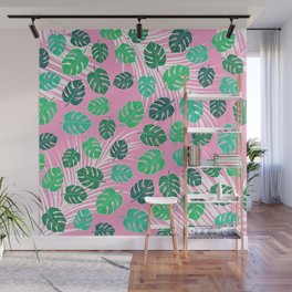 Modern bright watercolor green monstera leaf white palm tree leaf on pink exotic background pattern Wall Mural
