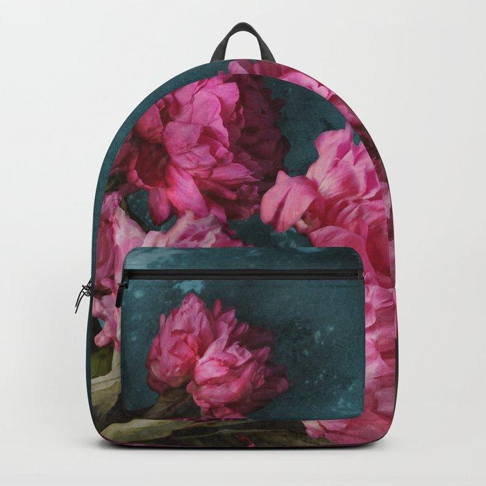 Peony Romance Teal Backpack