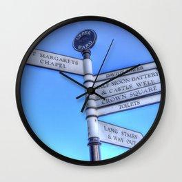 Edinburgh Castle Directions Post Wall Clock