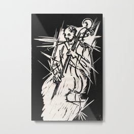 Bossa Pizzicato Jazz Bassist Black and White Block Print Metal Print