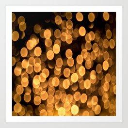 Golden Bokeh Light On A Black Background #decor #society6 Art Print