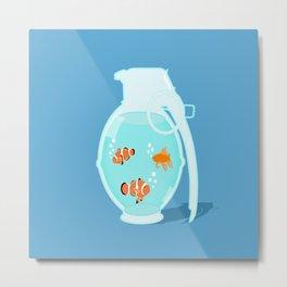 Fish Grenade Metal Print