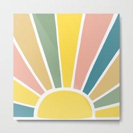 Retro Sun Ray Burst Metal Print