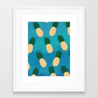 pineapples Framed Art Prints featuring Pineapples  by Ashley Hillman