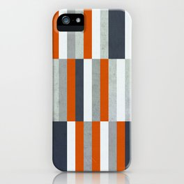 Orange, Navy Blue, Gray / Grey Stripes, Abstract Nautical Maritime Design by iPhone Case