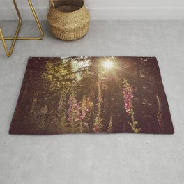 A New Day Wildflowers at Dawn - Nature Photography Rug