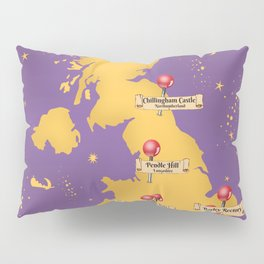 Map Of the Most Haunted Locations of the United Kingdom. Pillow Sham