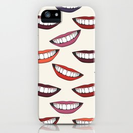 Beautiful female smile with colorful lipsticks iPhone Case