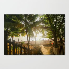 Sunset Behind Palm Trees Canvas Print