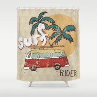 surfing Shower Curtains featuring Surfing by Julia