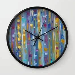 Forest Through The Trees, Abstract Aspen Tree Art Wall Clock