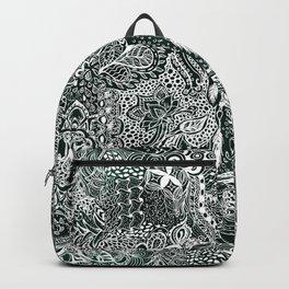 Modern dark green forest watercolor Christmas dream catcher floral doodles Backpack