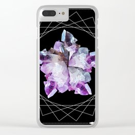 Crystal Totem Line Work Occult Tattoo Style Illustration Clear iPhone Case