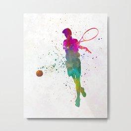 Man tennis player 01 in watercolor Metal Print