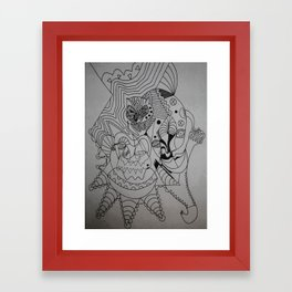 cat skribb Framed Art Print