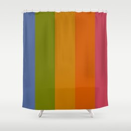 Rainbow Stripes /// pencilmeinstationery.com Shower Curtain