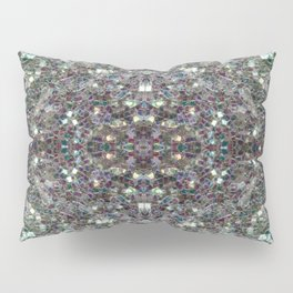 Sparkly colourful silver mosaic mandala Pillow Sham