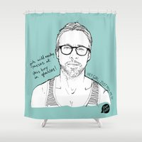 ryan gosling Shower Curtains featuring Hey Girl, The Gosling by Dear Colleen