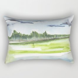 In the Mountains: moody, painterly watercolor landscape Rectangular Pillow