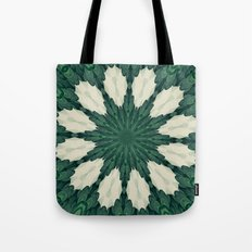 Tropical Sacramento Green and Silver Leaf Mandala Tote Bag