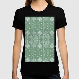 Art Deco Botanical Leaf Shapes Green T-shirt